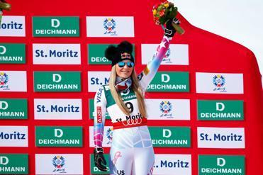Lindsey Vonn celebrates her third-place finish in the downhill at the world championships Sunday in St. Moritz, Switzerland.