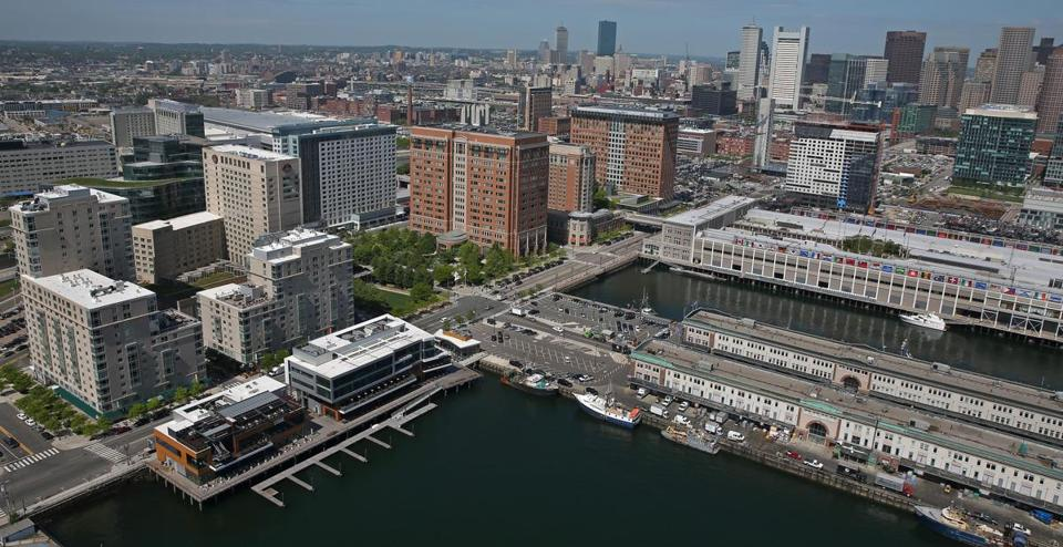 BOSTON, MA - 5/30/2014: Seaport District with New England Fish Pier and Commonwealth Pier on the right Views of Boston AERIAL (David L Ryan/Globe Staff Photo) SECTION: BUSINESS TOPIC