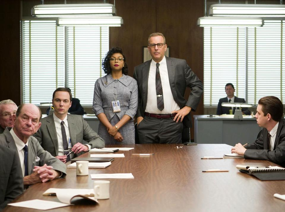 "This image released by Twentieth Century Fox shows Taraji P. Henson, standing left, and Kevin Costner, standing right, in a scene from, ""Hidden Figures."" The film is nominated for an Oscar for best picture. (Hopper Stone/Twentieth Century Fox via AP)"