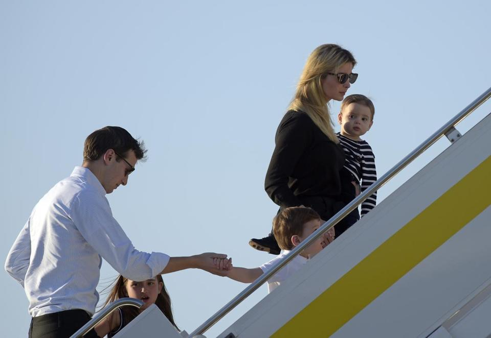 Ivanka Trump and her husband White House Adviser Jared Kushner and their family board Air Force One at Palm Beach International Airport last Sunday.