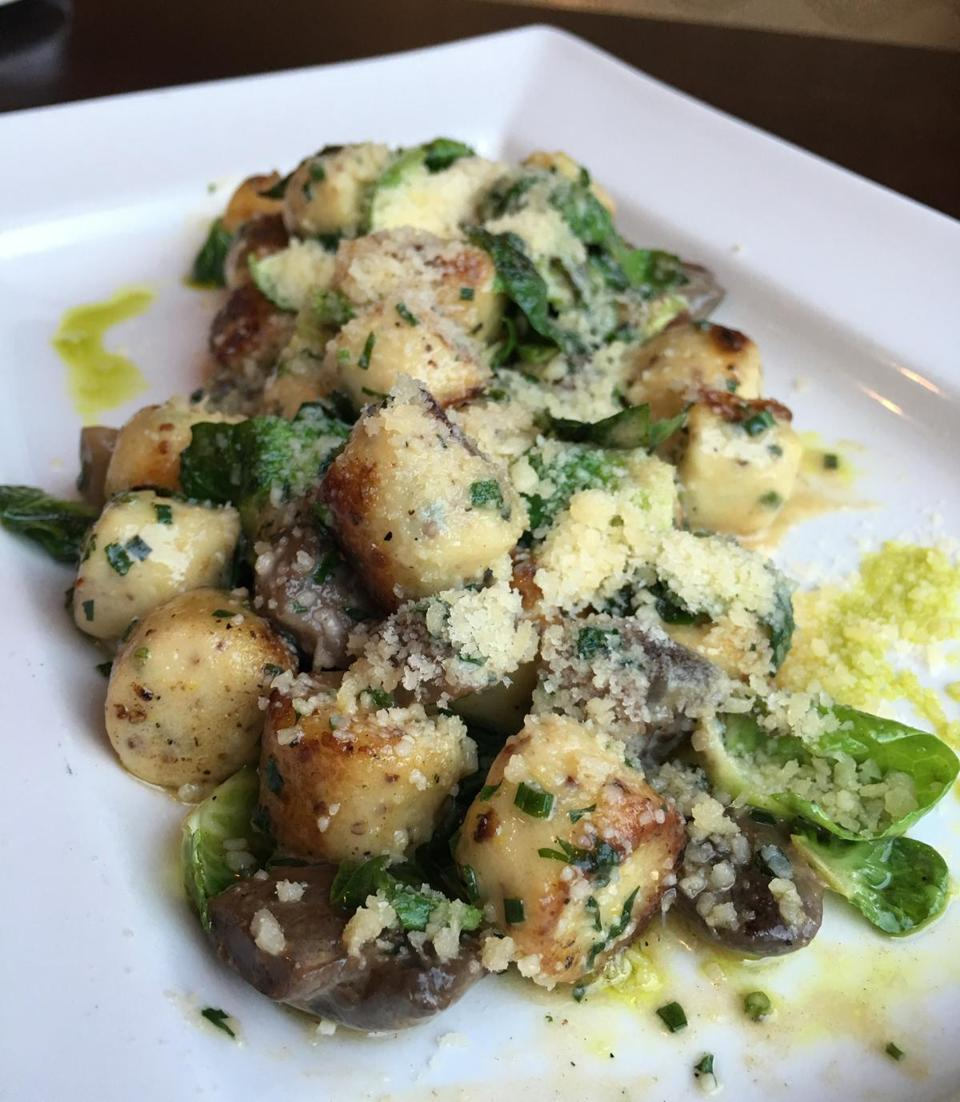 26nodine - The Parisienne Gnocchi at The Waterfield Kitchen featured wild mushroom, charred Brussels sprout leaves, and a velvety Madeira cream sauce. (Brion O'Connor)