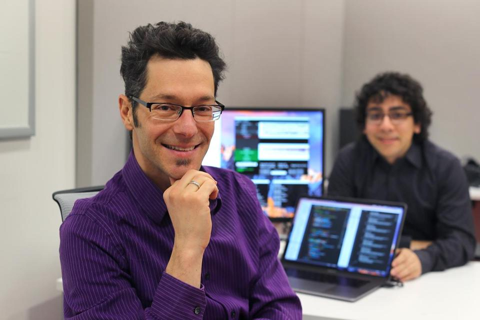 NoteStream app developer Eran Egozy and research assistant Nathan Gutierrez.