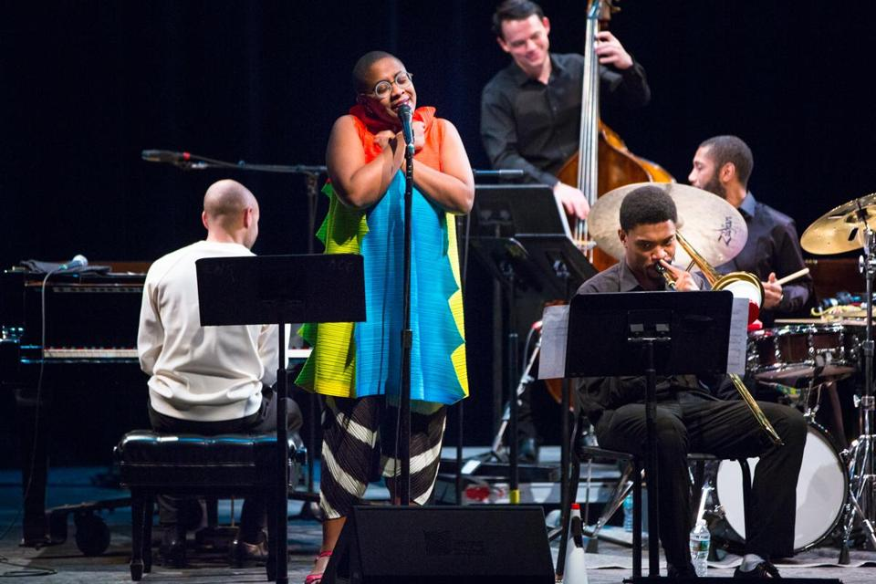 "Cécile McLorin Salvant performs during the ""Jelly and George'' show."