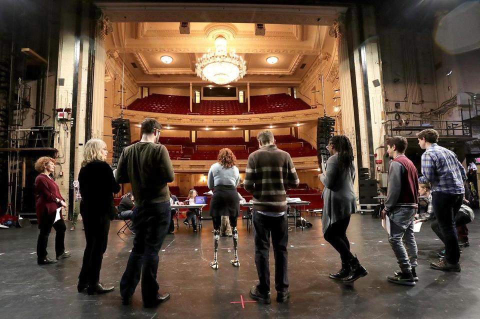 "A rehearsal for ""Finish Line"" at the Shubert Theatre."
