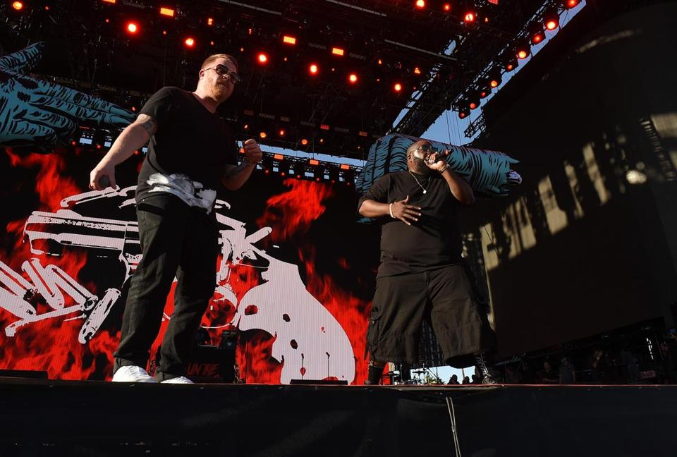 Killer Mike (right) and El-P performing as Run the Jewels last April in Indio, Calif.