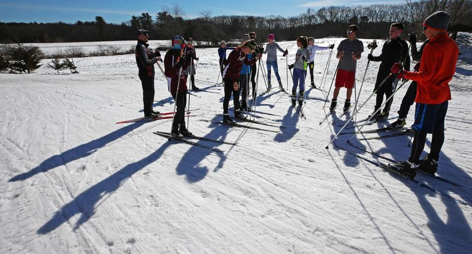 CARLISLE, MA - 2/21/2017: The Westford Academy nordic ski team in advance of next week's state meet are running time trials during the practice session at Great Brook Ski Touring Center in Carlisle . (David L Ryan/Globe Staff Photo) SECTION: REGIONAL TOPIC 26nonordic