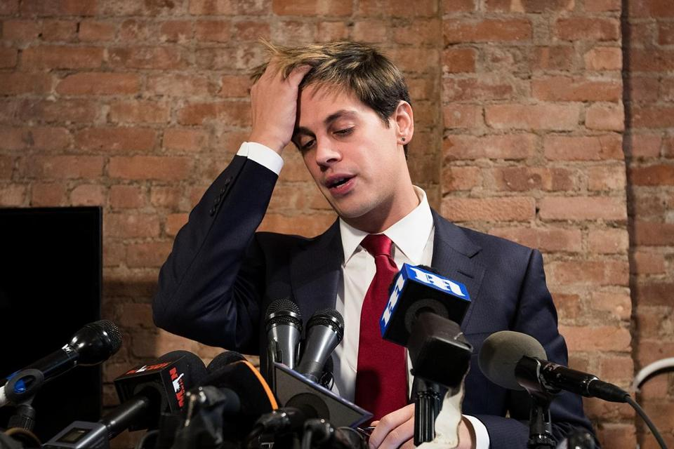 Milo Yiannopoulos announced his resignation from Breitbart News at a Feb. 21 press conference.