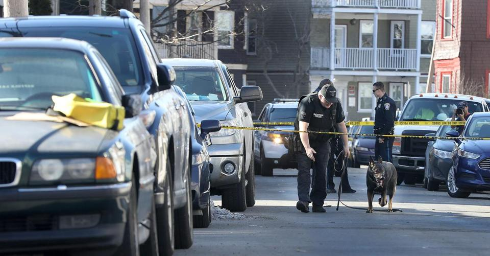 Boston police investigated the scene of an afternoon shooting on Havelock Street in February.