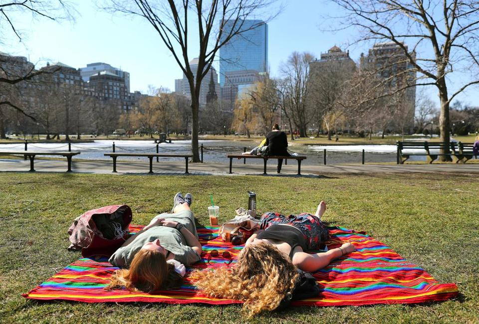 The mercury in Boston climbed to 68 Thursday, beating the old record of 65, set in 1990.