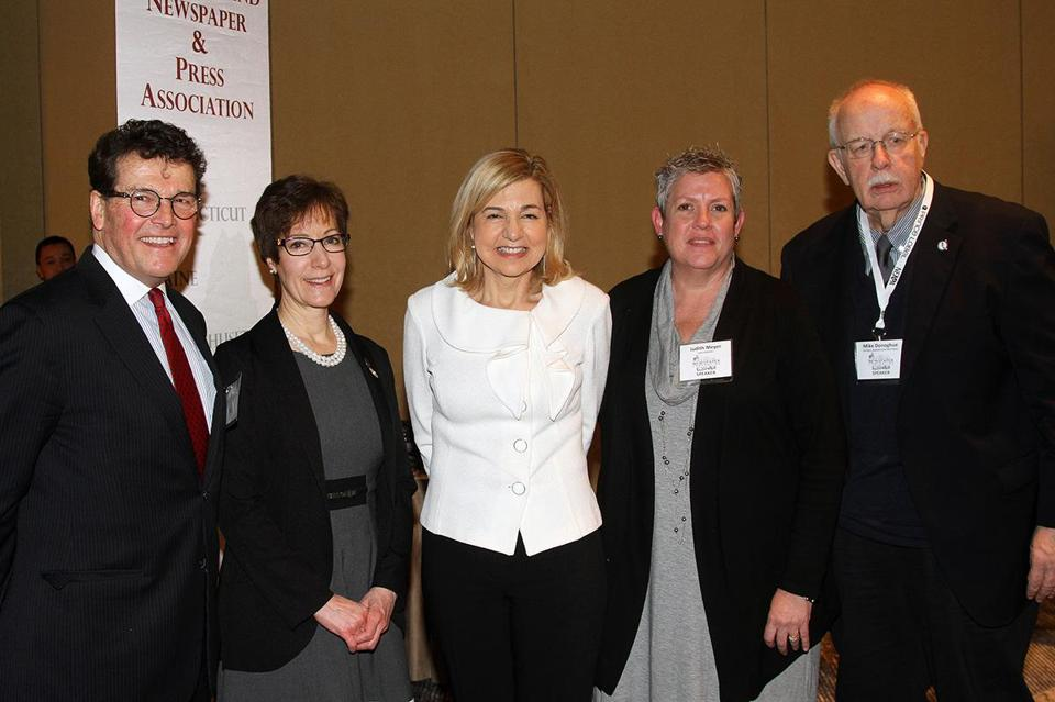 From left: Tom Fiedler, Donna Green, Margaret Sullivan, Judith Meyer, and Michael Donoghue at the New England First Amendment Coalition's annual awards luncheon on Friday.