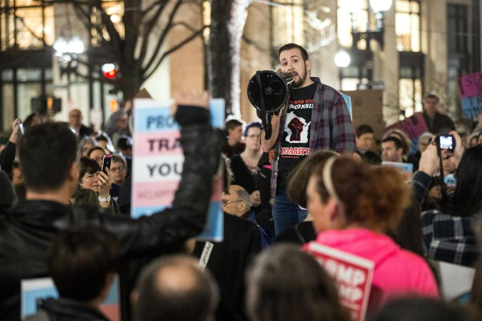 02/23/2017 BOSTON, MA Mason Dunn (cq) of the Mass Transgender Political Coalition, spoke during a rally to support trans students held at Post Office Square in Boston. (Aram Boghosian for The Boston Globe)