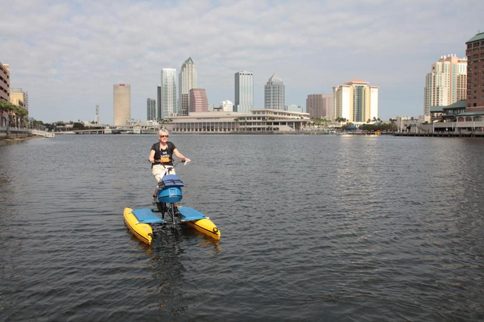 The author used a floating bike to get around the Tampa riverfront.