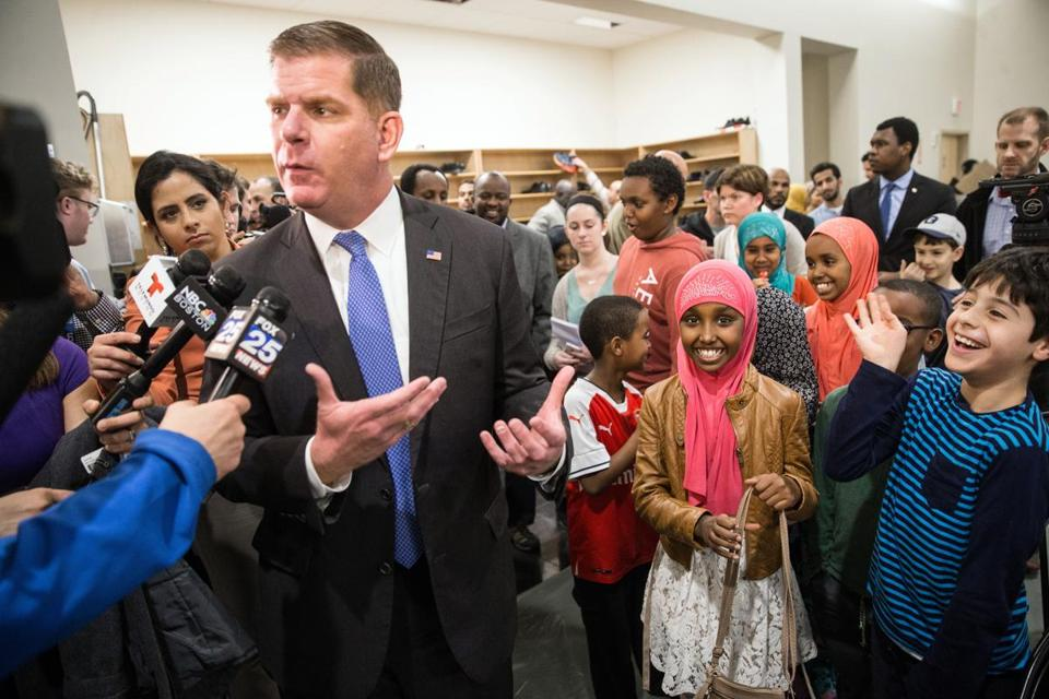 02/23/2017 BOSTON, MA Mayor Marty Walsh (cq) spoke to the media while surrounded by children during an immigrant and refugee community forum held at the Islamic Society of Boston Cultural Center. (Aram Boghosian for The Boston Globe)