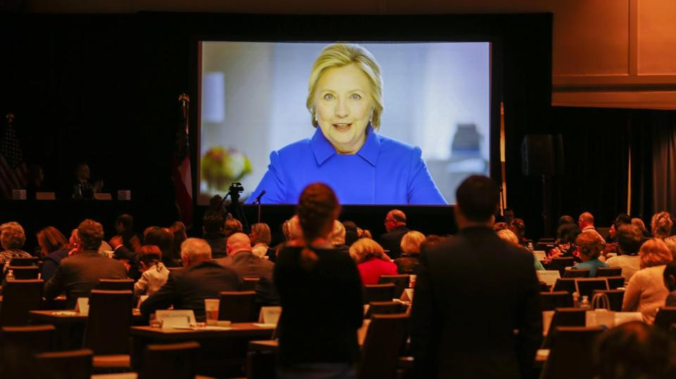 Hillary Clinton delivered a videotaped address during the Democratic National Committee Winter Meeting in Atlanta, GA in February.