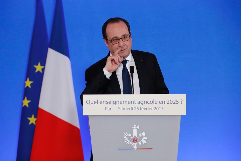 "French President Francois Hollande delivers a speech as he visits the International Agricultural fair in Paris, on February 25, 2017. French President Francois Hollande on February 25, 2017, hit back at Donald Trump after the US president criticised France in a veiled attack on its immigration policies and those of its European allies. ""It is never good to show the slightest mistrust towards a friendly country,"" Hollande said. ""That is not what I do toward a friendly country and I ask the American president not to do it to France,"" he said at the opening of the annual agricultural fair in Paris. / AFP PHOTO / POOL / CHRISTIAN HARTMANNCHRISTIAN HARTMANN/AFP/Getty Images"