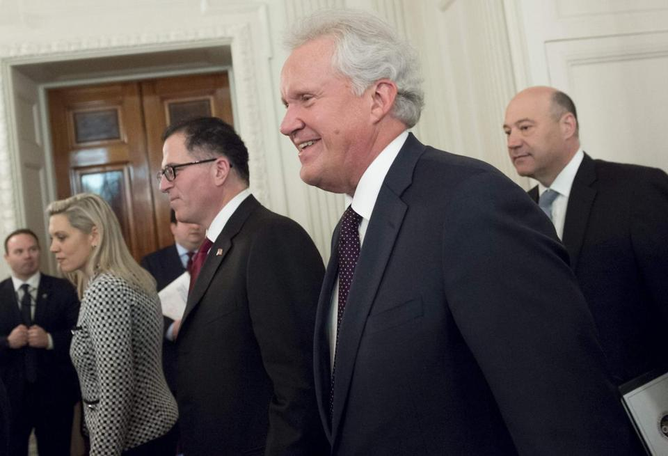 General Electric chief executive Jeff Immelt (center) and Dell founder Michael Dell (left) arrived for a meeting with President Trump at the White House last week.