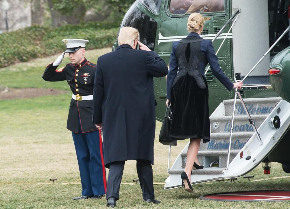 "US President Donald Trump and his daughter Ivanka board Marine One at the White House in Washington, DC, on February 1, 2017. Trump flew to Dover Air Force Base for arrival of remains of a US commando killed William ""Ryan"" Owens early January 29, in Yemen during a raid on Al Qaeda in the Arabian Peninsula. / AFP PHOTO / NICHOLAS KAMMNICHOLAS KAMM/AFP/Getty Images"