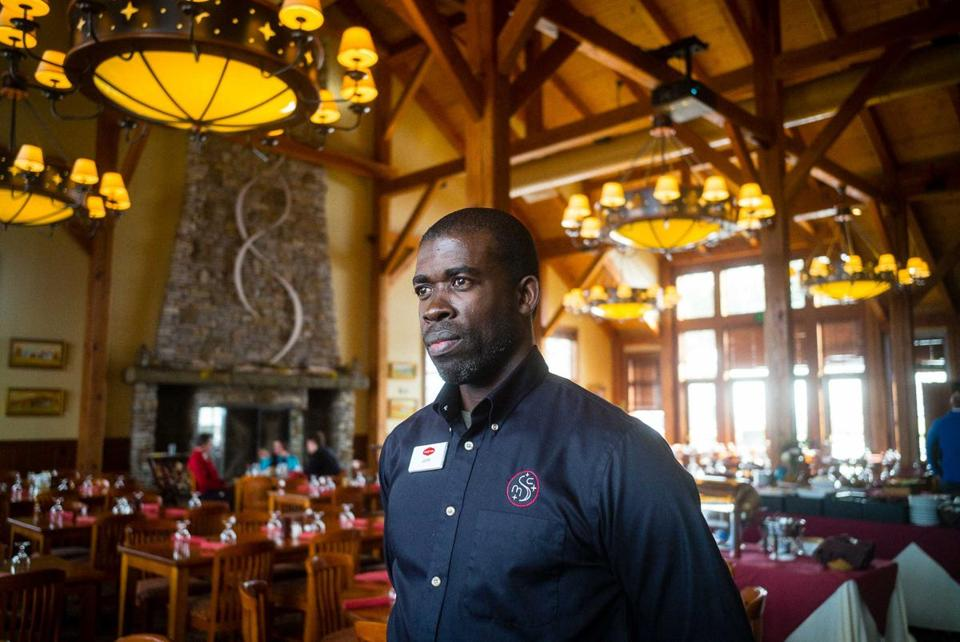 John Vassel, a buffet manager at Stratton Mountain Club in South Londonderry, Vt., is in the US on an H-2B visa.
