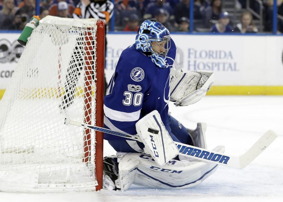 Tampa Bay Lightning goalie Ben Bishop (30) makes a blocker save on a shot by the Edmonton Oilers during the first period of an NHL hockey game Tuesday, Feb. 21, 2017, in Tampa, Fla. (AP Photo/Chris O'Meara)