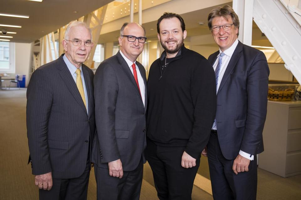 The five-year partnership between the Boston Symphony and Leipzig Gewandhaus orchestras is the brainchild of BSO maestro Andris Nelsons (second from right), pictured with (from left) Harvard musicologist Christoph Wolff, BSO managing director Mark Volpe, and Gewandhaus director Andreas Schulz.