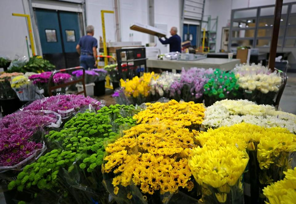 CHELSEA, MA - 3/01/2017: Flowers from Carbone wholesale florist & floral supplies being ready. All the goings on at the new located New England Flower Exchange in Chelsea on the first official day of business. The vendors were forced to move out of the former Boston Flower Exchange in the South End after it was sold to a developer and will now continue operations in a new warehouse in Chelsea. (Photo) SECTION: BUSINESS TOPIC 02flowerexchange