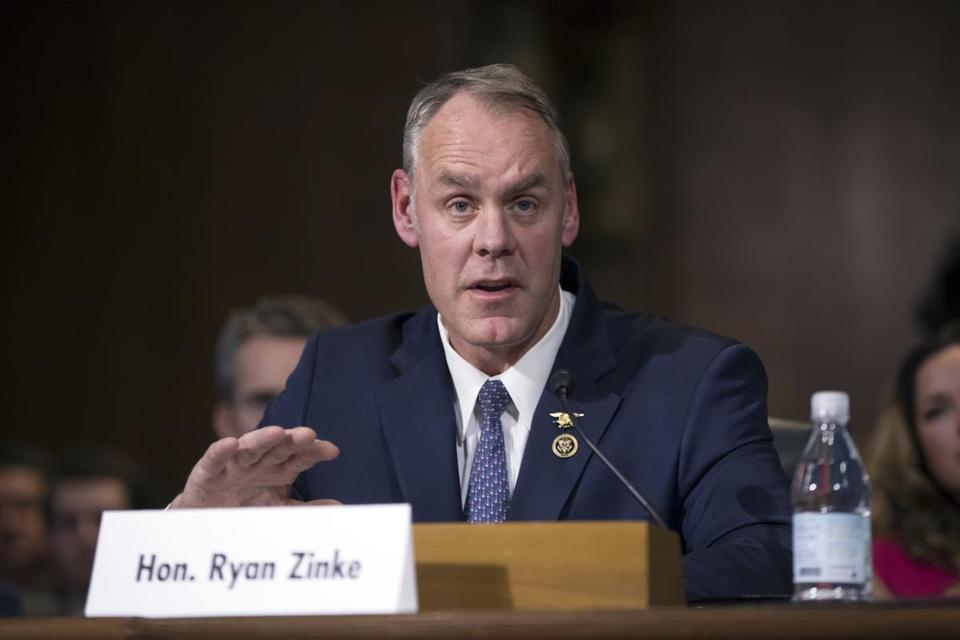 FILE - In this Jan. 17, 2017, file photo, Interior Secretary-nominee, Rep. Ryan Zinke, R-Mont. testifies on Capitol Hill in Washington. Zinke appears headed toward confirmation as the nation's next interior secretary, responsible for more than 400 million acres of public land, mostly in the West. A vote in the Senate is expected to happen on March 1. (AP Photo/J. Scott Applewhite, File)