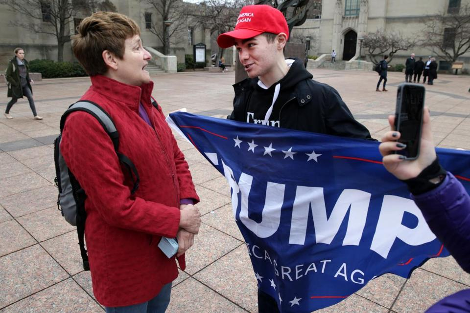 Linda Jenkins (left) spoke with BU student Nick Fuentes in early March.