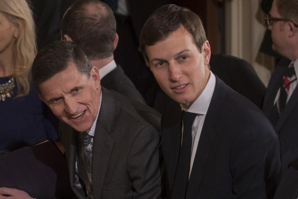 Mike Flynn (left) and Trump senior adviser Jared Kushner at the White House last month. Flynn, who has since resigned from his post at national security adviser, and Kushner had a previously-undisclosed meeting with Sergey Kislyak, the Russian ambassador, at Trump Tower in December, the White House disclosed on Thursday.