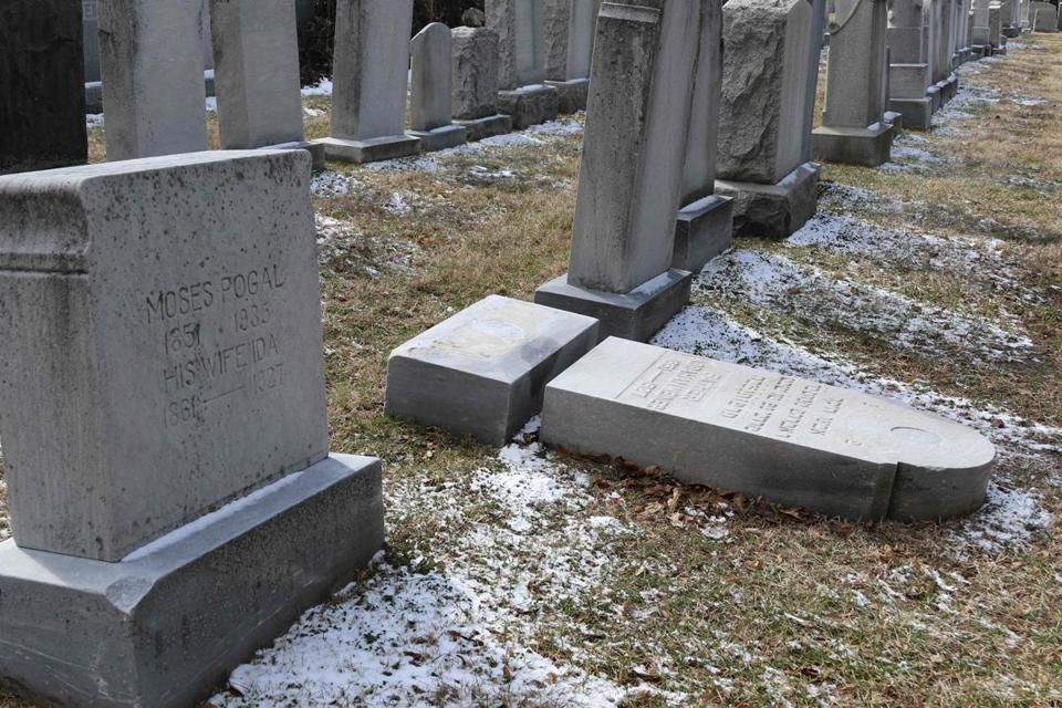 Vandalized stones were scattered at a cemetery in Rochester, N.Y.