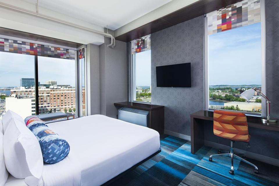 A room at the Aloft offers views all around.