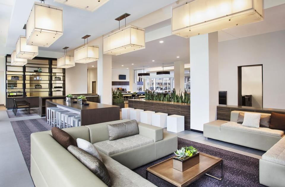The lobby at the Element Boston Seaport is a bright, inviting communal space.
