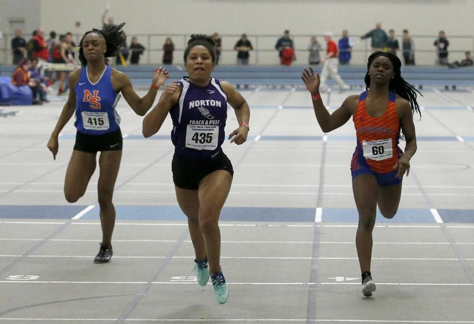 Roxbury Crossing, MA: 3/4/17 Norton's Brooke-Lynn Williams wins the 55 meter dash at the New England High School Indoor Track Championships. Photo/Mary Schwalm for The Boston Globe story/PJ Wright (05schrdp)
