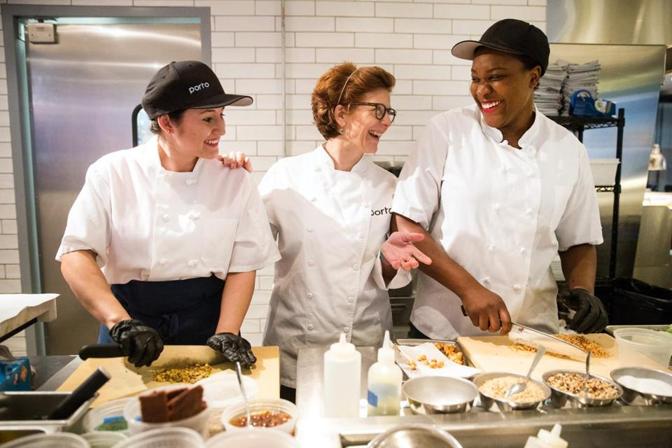 From left to right: line cook Vidalba Garcia, chef Jody Adams, and line cook Candace Blackwell prepared for dinner service at Porto in Boston.