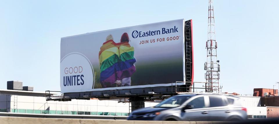 An Eastern Bank ad (above) is prominently displayed on a Southeast Expressway billboard in Dorchester.