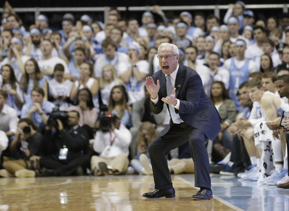 North Carolina head coach Roy Williams reacts during the second half of an NCAA college basketball game against Duke in Chapel Hill, N.C., Saturday, March 4, 2017. North Carolina won 90-83. (AP Photo/Gerry Broome)