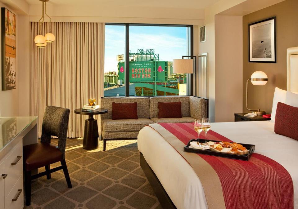 A guest room at the Hotel Commonwealth with Fenway Park as the view.