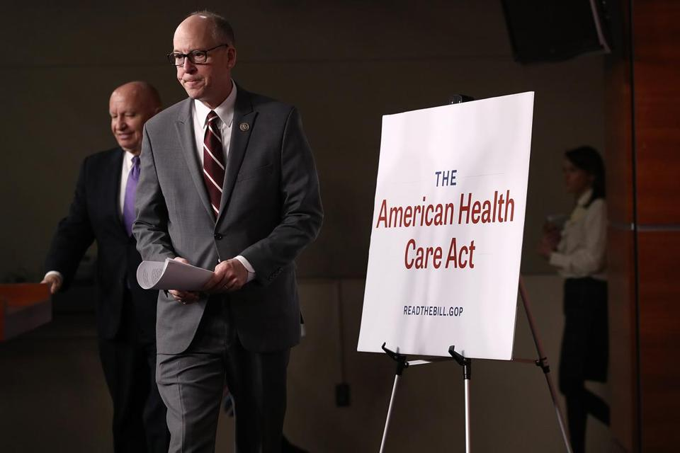 House Energy and Commerce Chairman Greg Walden and House Ways and Means Chairman Kevin Brady arrive for a news conference on the newly announced American Health Care Act at the US Capitol.