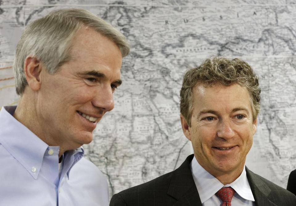 Senators opposing parts of the House health bill include Rob Portman of Ohio (left) and Rand Paul of Kentucky.