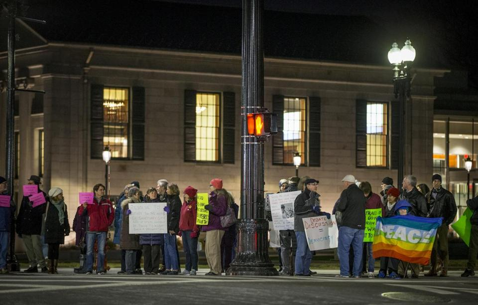 The South Shore People's Network hosted a rally in front of Quincy City Hall to show support for sanctuary city status. An effort to designate Quincy, Brockton, and Hull as sanctuary communities is picking up steam and galvanizing opposition as well. Rose Lincoln for the Boston Globe