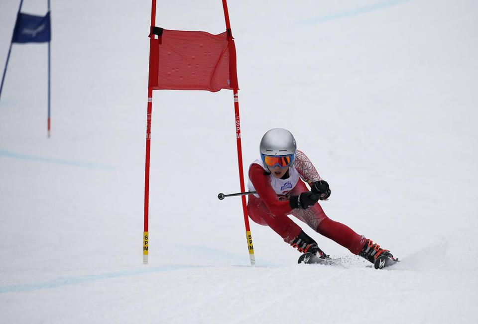 Princeton, MA: 3/7/17 Maria Cavallaro, of North Andover, clears a gate on her way to a fourth place finish in the Giant Slalom, at the MIAA Alpine ski championships at Mount Wachuset. Photo/Mary Schwalm for The Boston Globe story/Brandan Blom (08alpine)