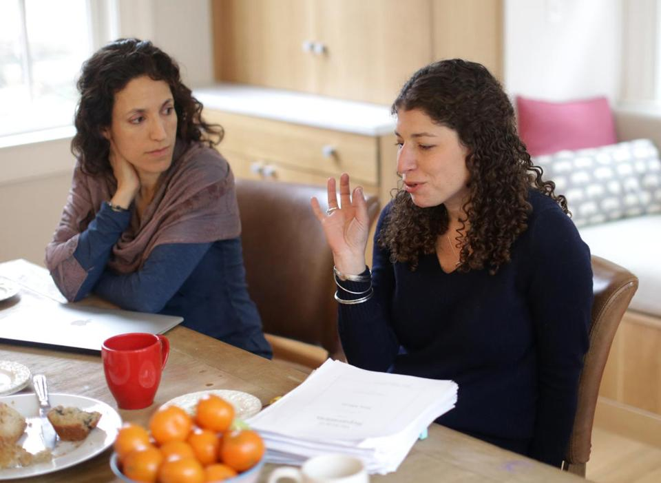Rachel Kadish (left) and Tova Mirvis at a writers meeting at Jessica Shattuck's home.
