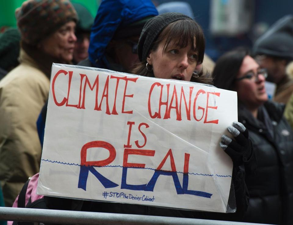 Climate activists demonstrated in New York City in January.
