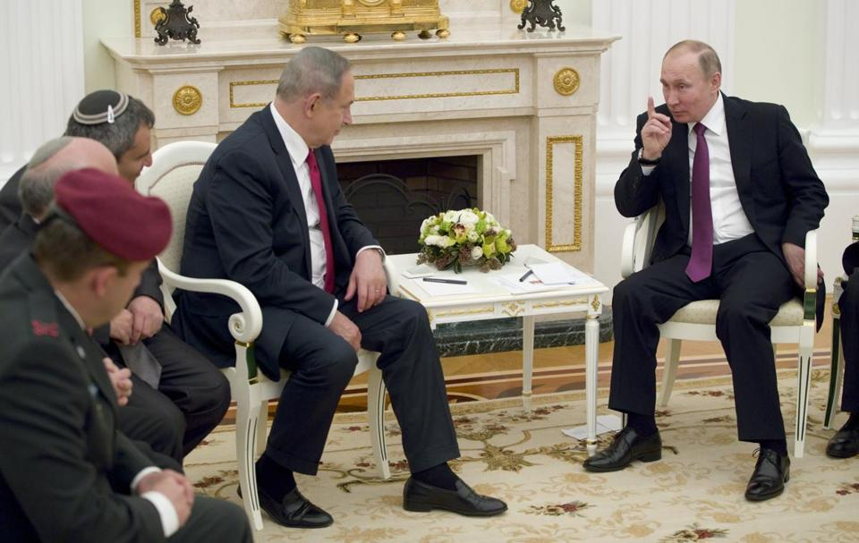 Prime Minister Benjamin Netanyahu of Israel visited Moscow on Thursday seeking reassurance from President Vladimir Putin of Russia (right).