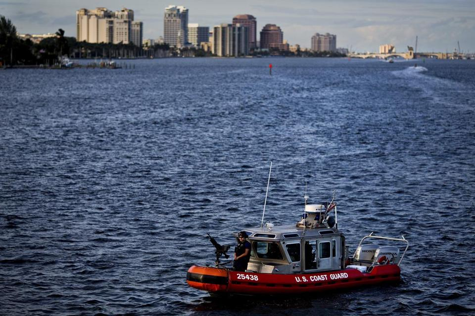 Members of the US Coast Guard patrolled the Intracoastal Waterway near the Mar-a-Lago resort, where President-elect Donald Trump was spending Thanksgiving weekend in Palm Beach, Fla., last year.)