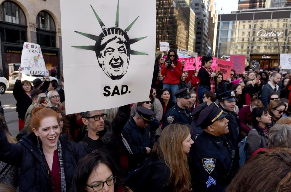 Women participated in a protest near Trump Tower in New York.