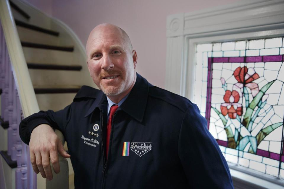 OUTVETS founder Bryan Bishop in his Boston home.