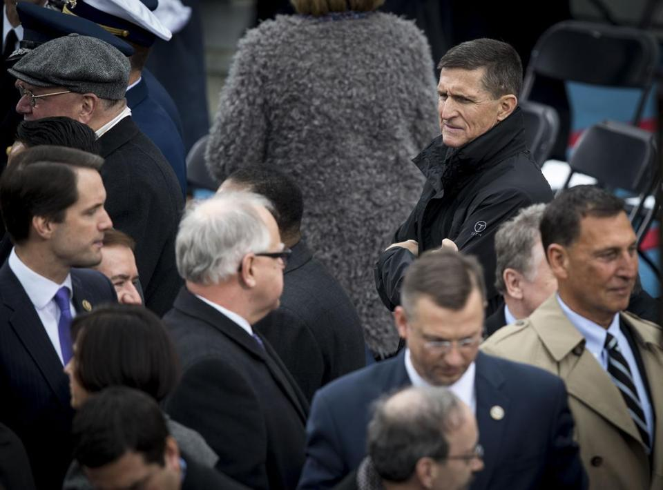 Michael Flynn in the audience for Donald Trump's presidential inauguration in January. Flynn, Trump's first national security adviser, acted as a foreign agent representing the interests of Turkey's government in exchange for more than $500,000 during last year's campaign even as he was advising Trump, according to disclosure forms filed in March.