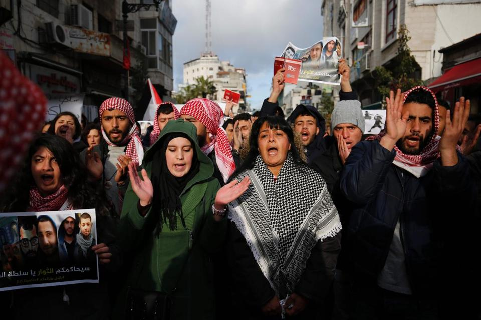Palestinians demonstrated in the center of the West Bank city of Ramallah on Monday against the security coordination between Palestinian forces and Israel.