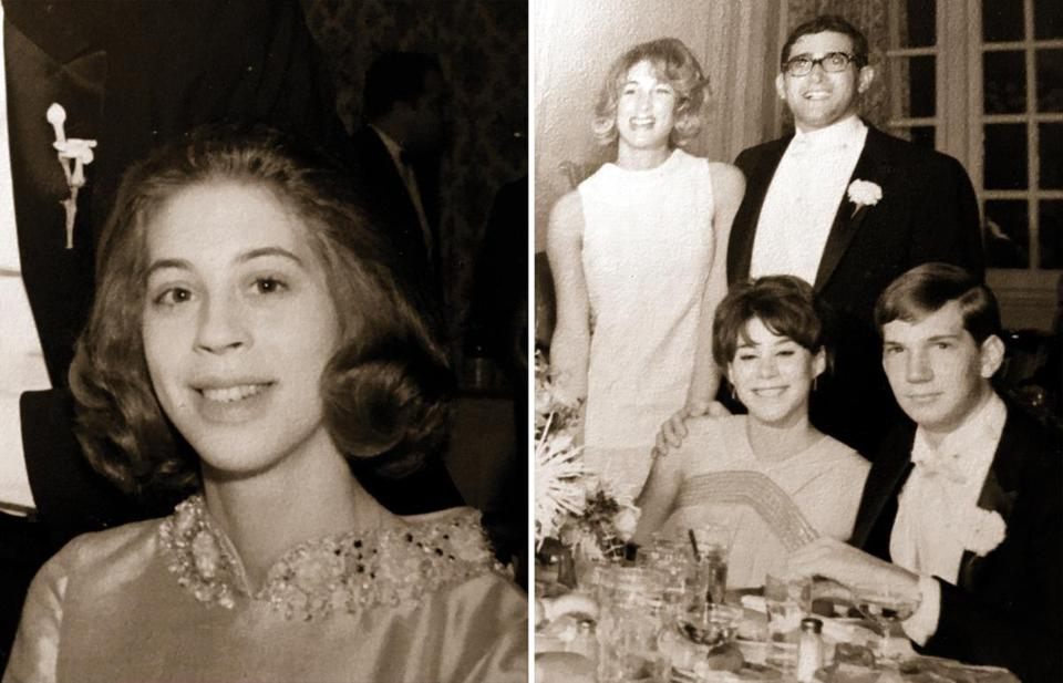 Lynda Waldman (left) at her cousin's 1966 wedding. Sheryl Waldman (right, seated) at the same wedding.