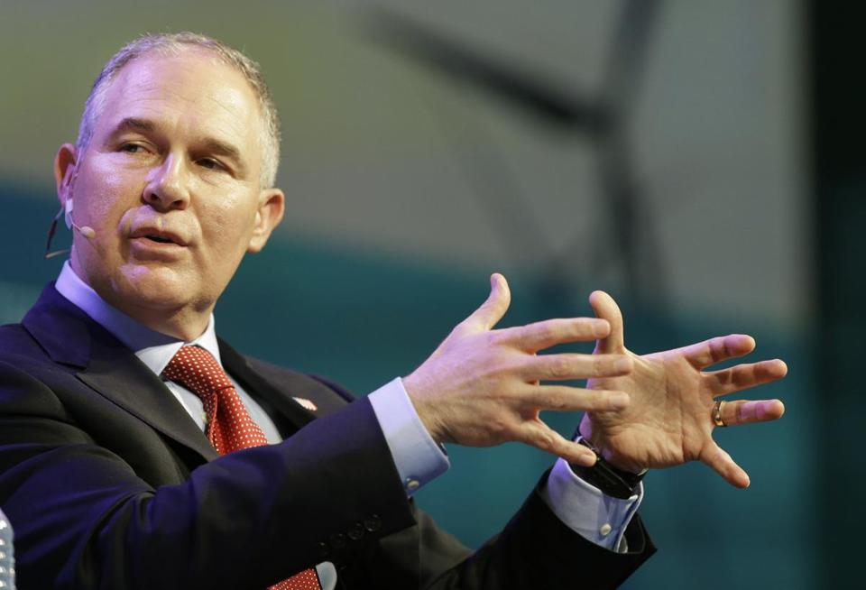 """Environmental Protection Agency Administrator Scott Pruitt speaks during CERWeek by IHS Markit on Thursday, March 9, 2017, in Houston. Pruitt said on CNBC's """"Squawk Box,"""" he does not believe that carbon dioxide is a primary contributor to global warming, a statement at odds with mainstream scientific consensus and his own agency. (Melissa Phillip /Houston Chronicle via AP)"""